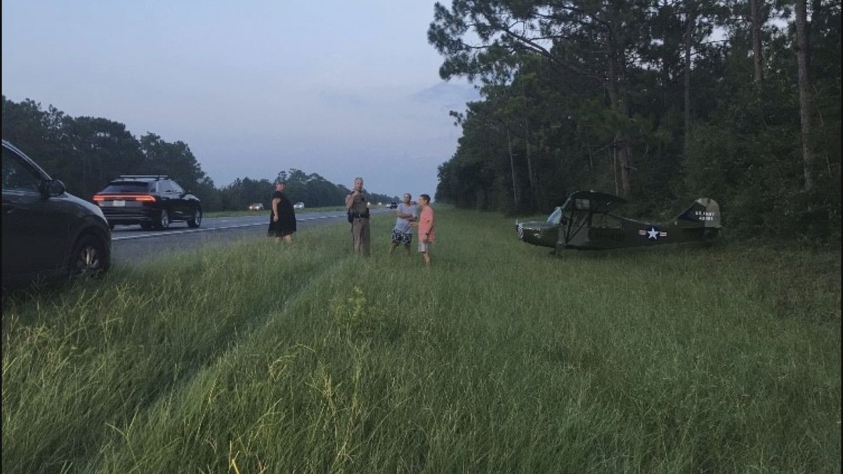 Small airplane lands on Interstate 10 in Santa Rosa County.