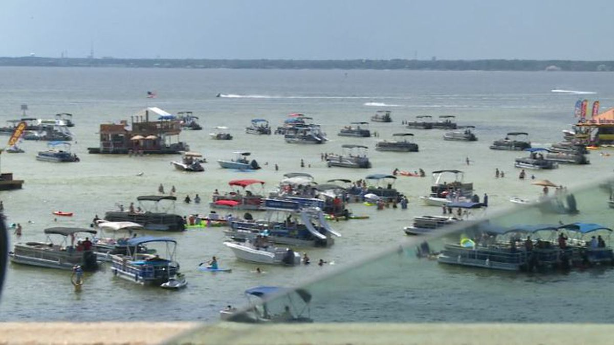 Floating structures on Crab Island will be limited to just 12 by summer 2021, according to the Okaloosa County Board of Commissioners. (WJHG/WECP)