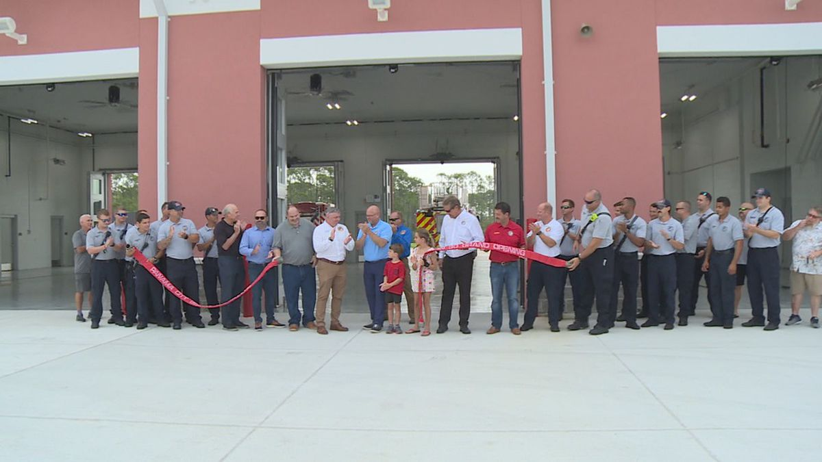 Fire and city officials celebrate the new fire station opening in Panama City Beach