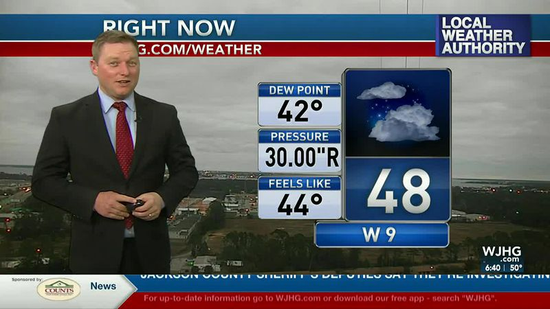Meteorologist Ryan Michaels showing this morning's conditions