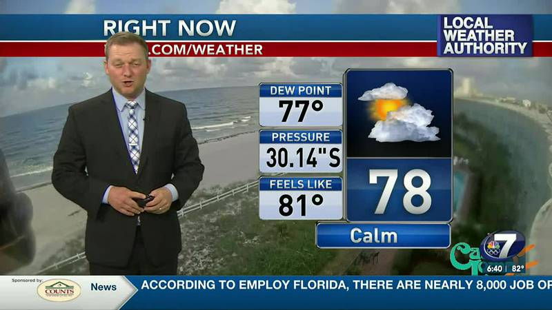 Meteorologist Ryan Michaels showing our morning current conditions.