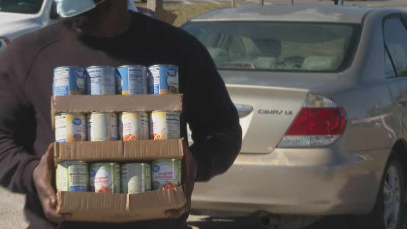 Community members hosted a food drive on Monday to give back to local food banks.