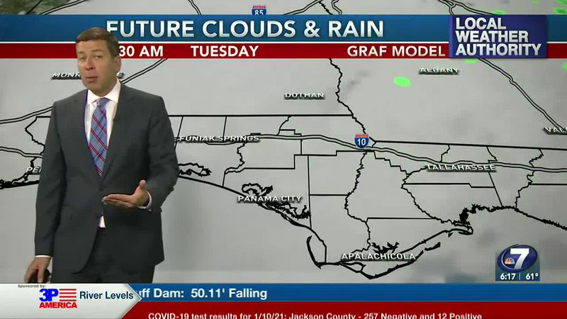 The clouds will hang tough tonight into the first part of Tuesday.