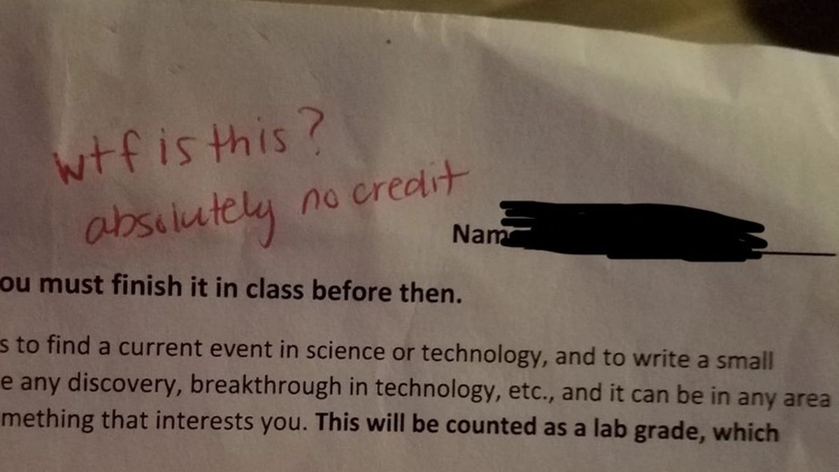 This image shows a homework assignment that a teacher wrote an inappropriate comment on. (WJHG/ Melinda Smith)