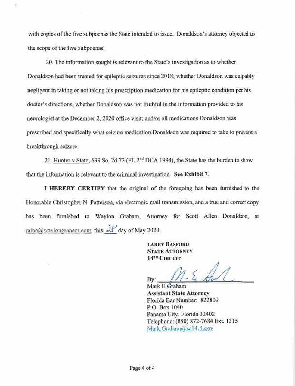 Page four of the motion filed by the State Attorney's office.
