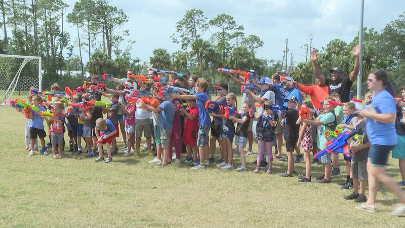 Families gathered Saturday Afternoon at Frank Nelson Park for a friendly competition of Nerf...