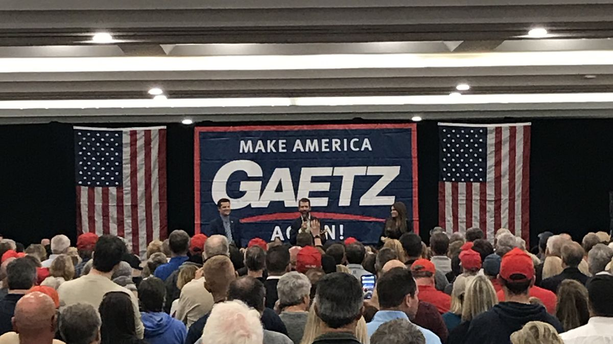 Hundreds of people attended a book signing and rally with Donald Trump Jr., Rep. Matt Gaetz, and Kimberly Guilfoyle Friday at the Sandestin Resort. (WJHG/WECP)