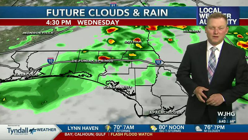 Meteorologist Ryan Michaels showing this afternoon's rain chances on Futurecast.