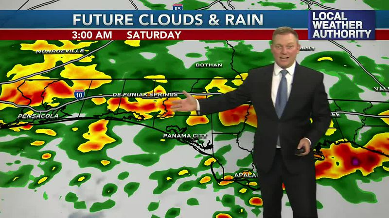 Meteorologist Ryan Michaels showing a heavy round of rain possible overnight tonight.