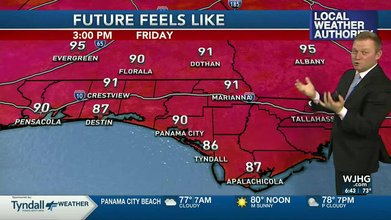 Meteorologist Ryan Michaels says the afternoon will feel hotter today due to higher humidity.