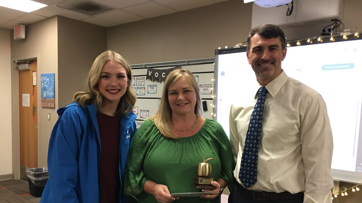 Vanessa Tant from Mosley High School wins the Golden Apple.<br />(WJHG)