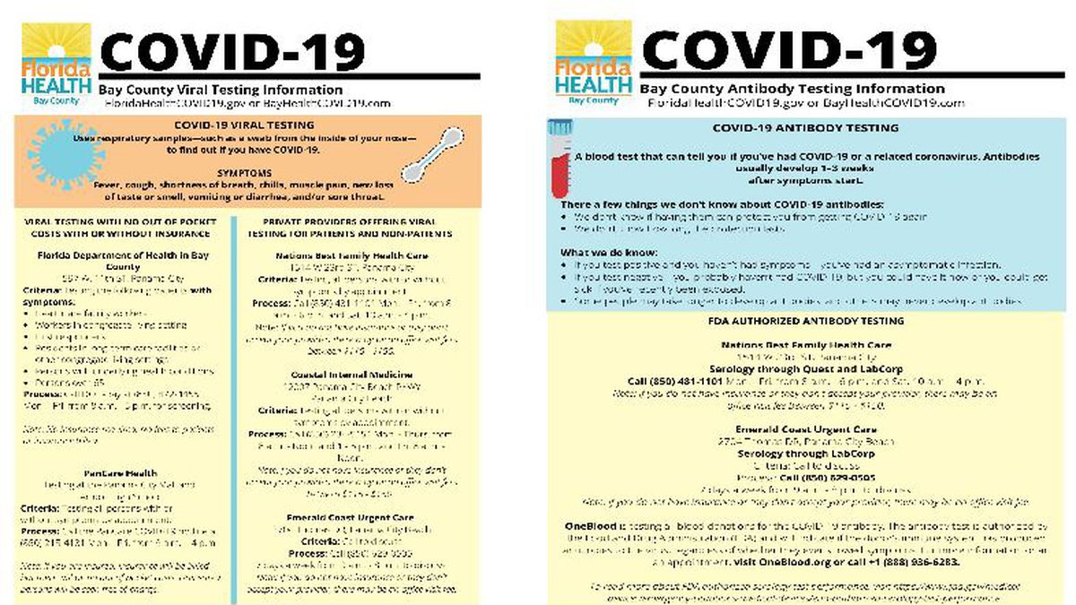 Flyer from the Department of Health in Bay County about COVID-19 testing. (WJHG/WECP)