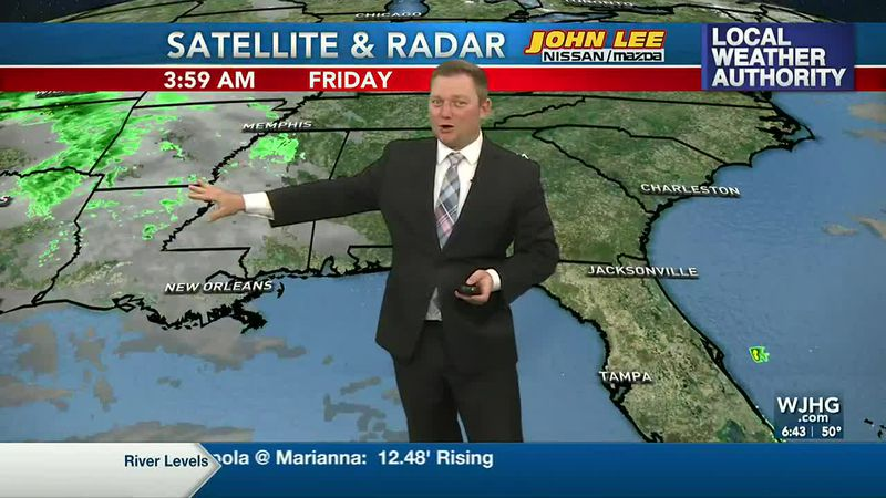 Meteorologist Ryan Michaels showing where our clouds will increase from today.