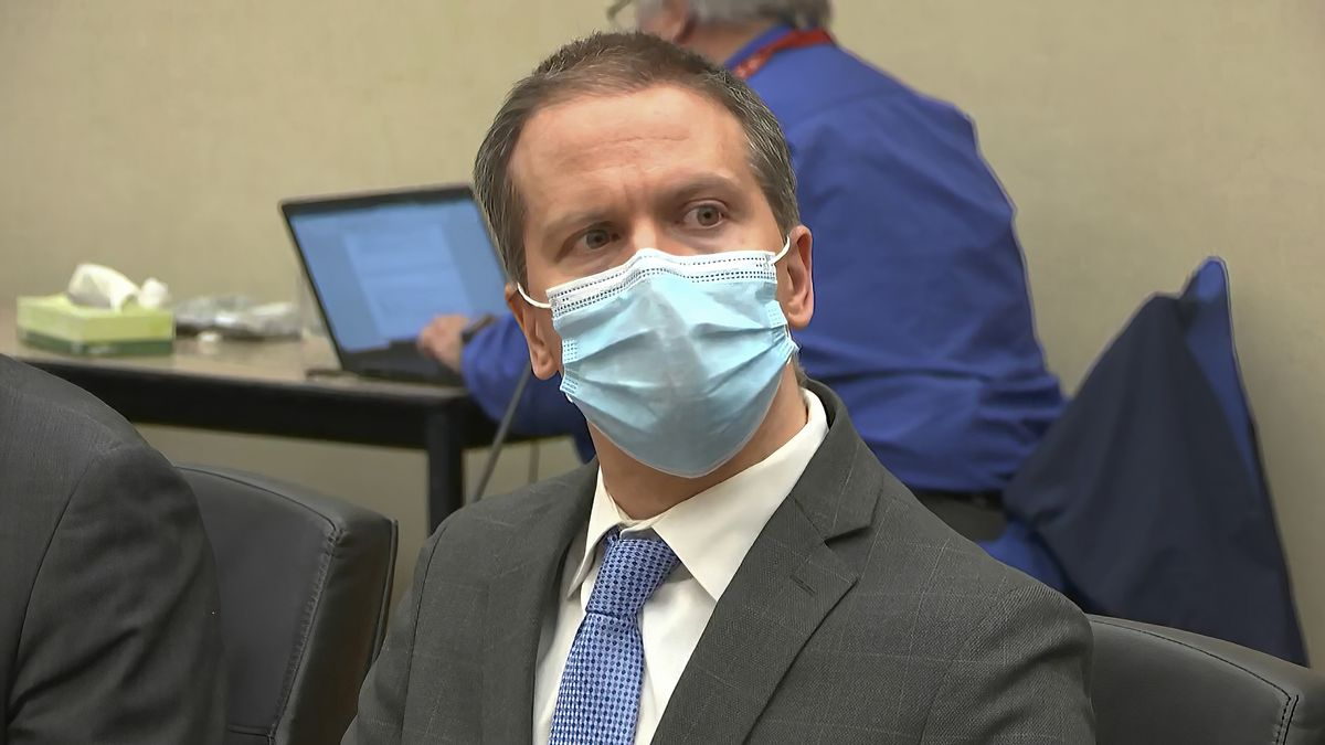 In this image from video, former Minneapolis police officer Derek Chauvin listens as the...