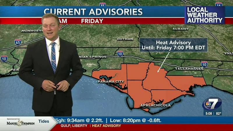 Meteorologist Ryan Michaels showing the Heat Advised counties for today.