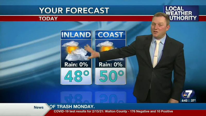 Meteorologist Ryan Michaels showing today's forecast.