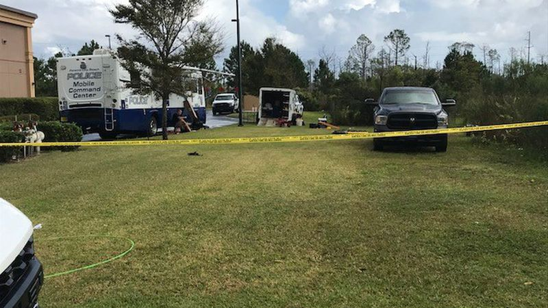 The Panama City Beach Police Department's Mobile Command Center was set up Tuesday, November...