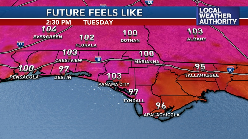 Hot temperatures and high humidity lead toward triple digit heat indices Tuesday afternoon.