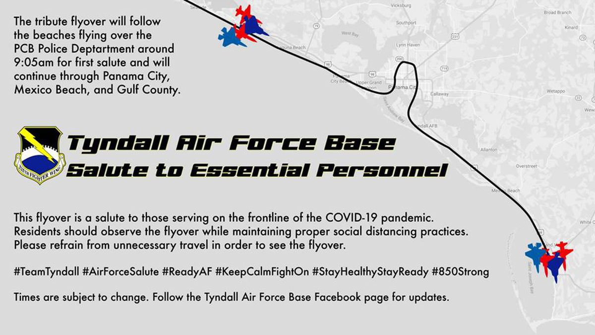 Tyndall Air Force Base as released a tentative flight path for the flyover scheduled for Friday. (Tyndall Air Force Base)