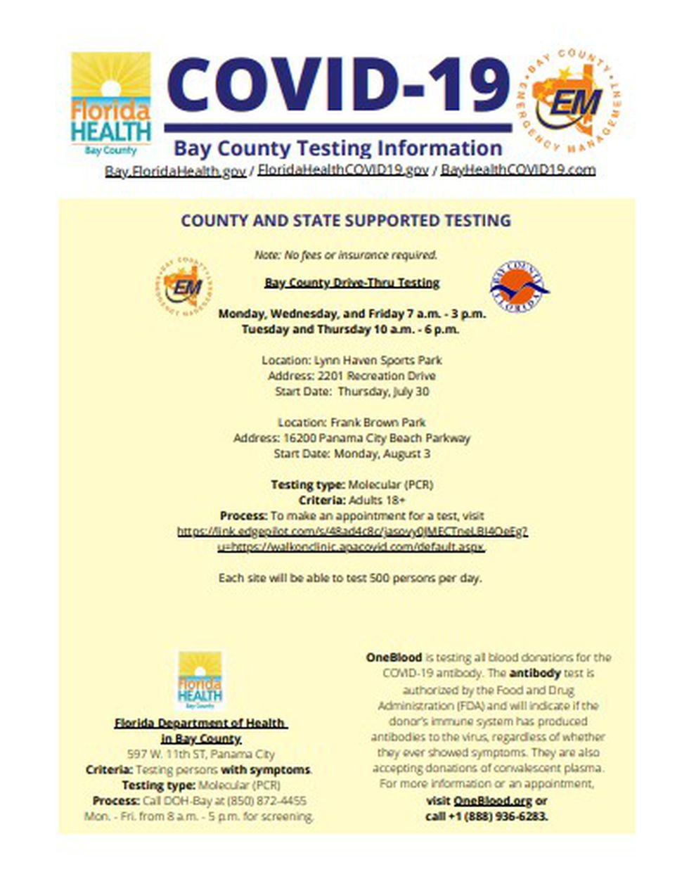 Three new COVID-19 testing sites are opening in Bay County.