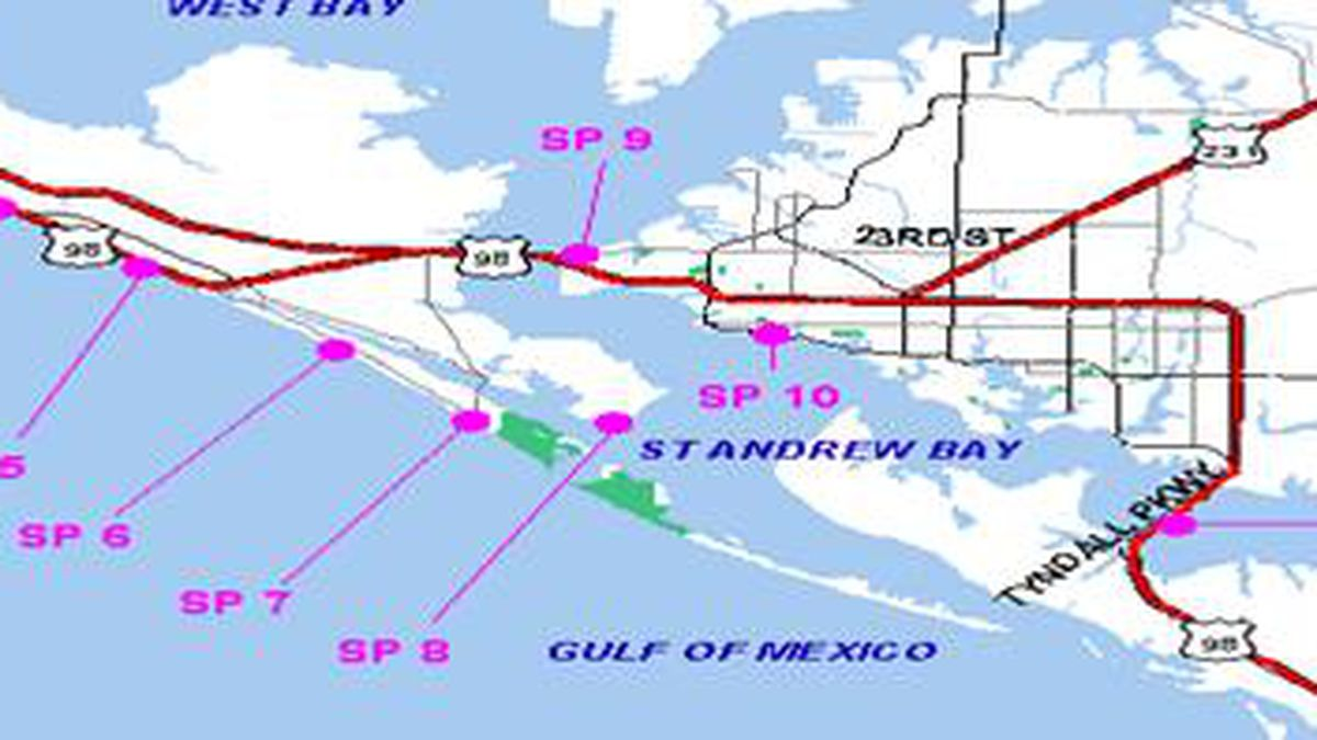This map shows locations of testing for the Healthy Beaches Monitoring Program by the Bay County Health Department.