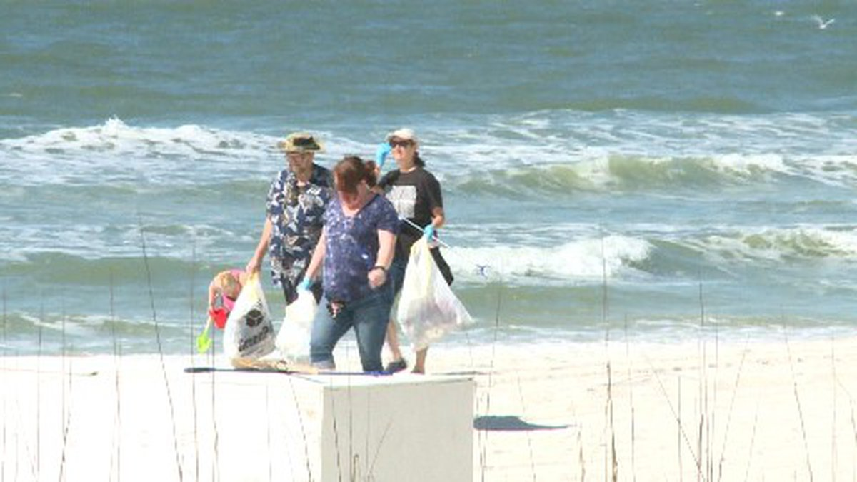 Volunteers stretched over two miles of beach, from the Bikini Beach Resort to Hampton Inn and...