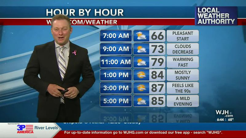 Meteorologist Ryan Michaels showing today's hourly planner.