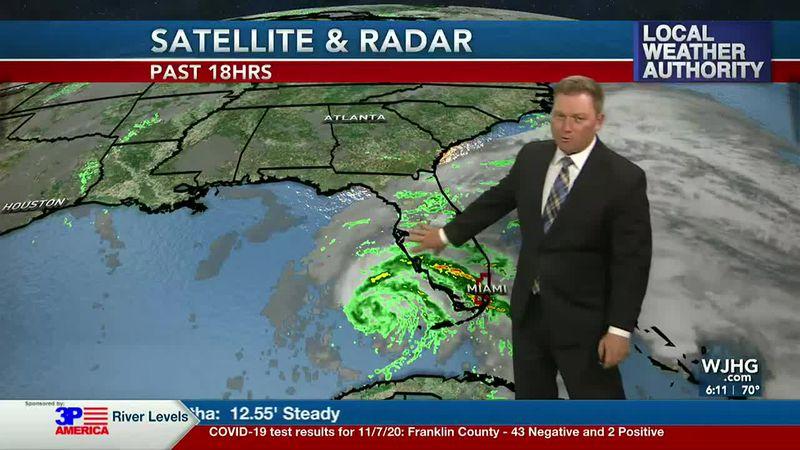 Meteorologist Ryan Michaels showing the latest radar imagery over Tropical Storm Eta.