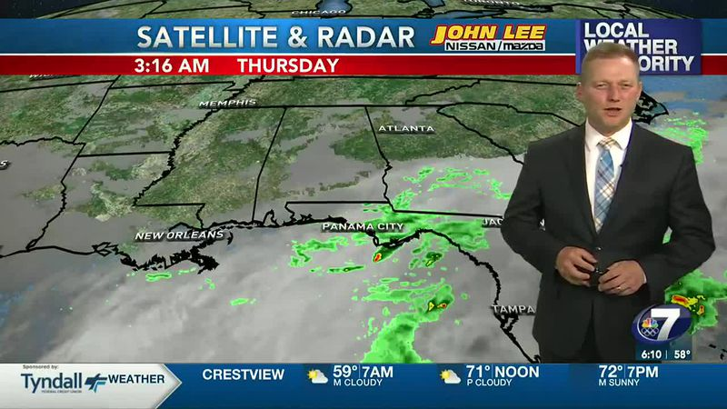 Meteorologist Ryan Michaels showing a few showers for the morning here in NWFL.