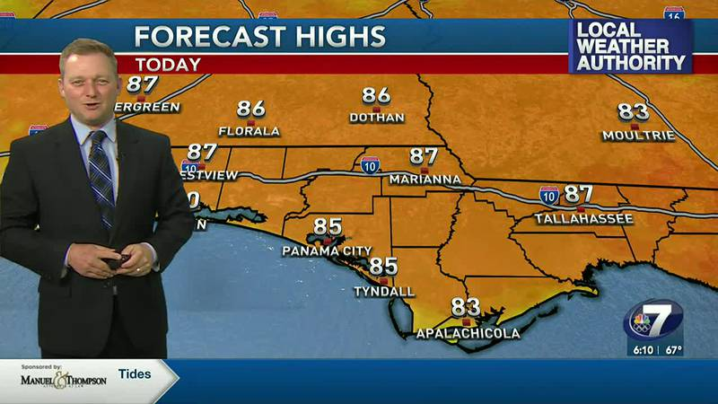 Meteorologist Ryan Michaels showing today's forecast highs.