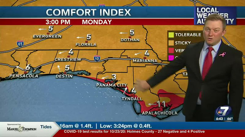 Meteorologist Ryan Michaels showing the humidity on the rise into the afternoon today.