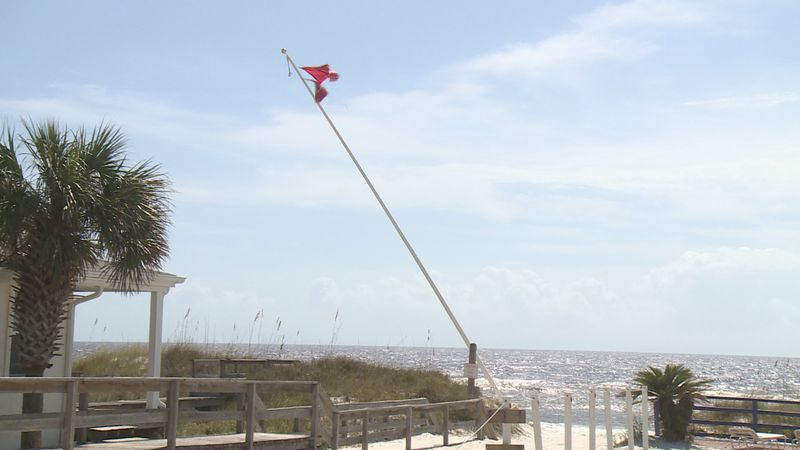 Multiple flagpoles were damaged or destroyed by Hurricane Sally