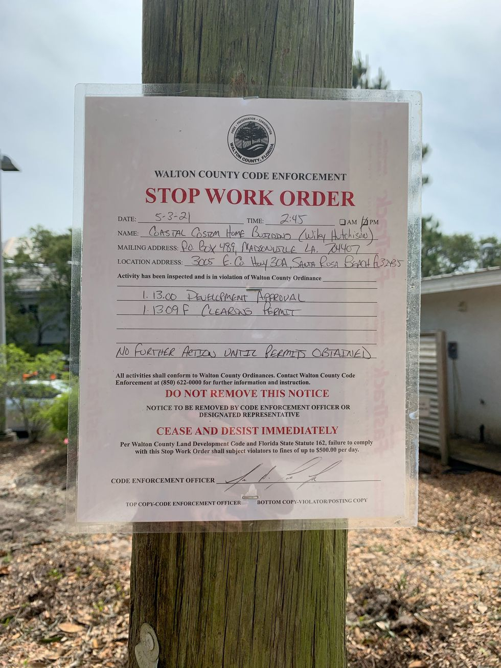 A stop work order was issued Monday afternoon by Walton County.