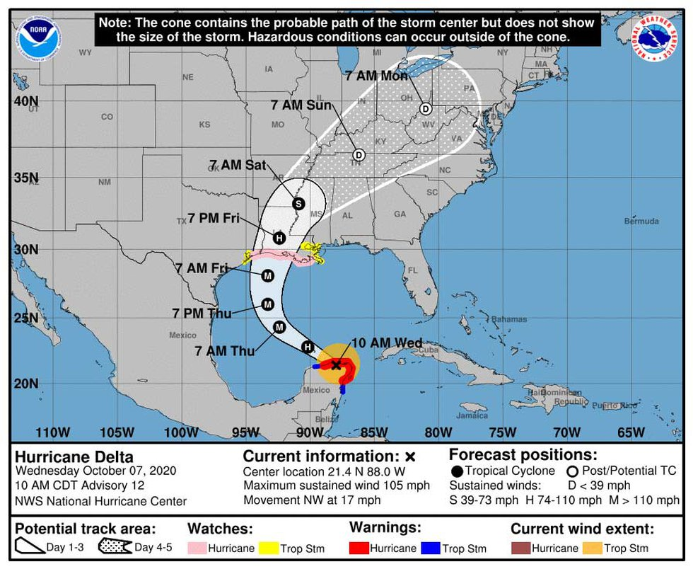 As of the 10 a.m. EDT update, Hurricane Delta had re-emerged in the Gulf of Mexico.