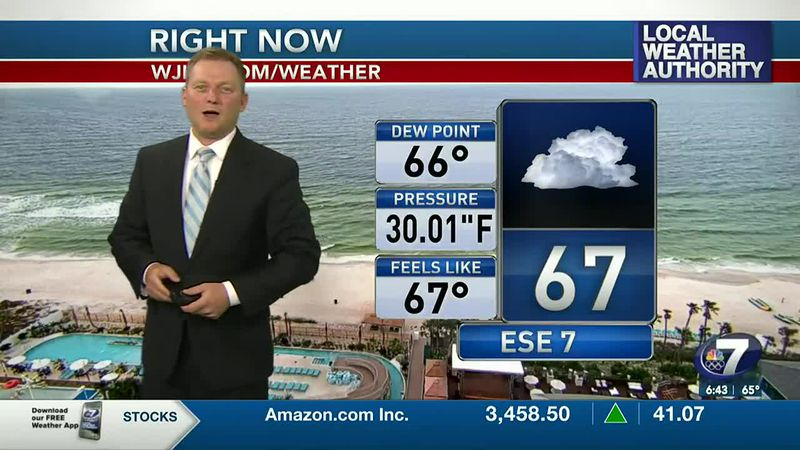 Meteorologist Ryan Michaels showing this mornings current conditions.