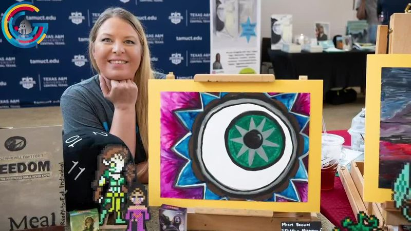 Army veteran Missy Brown showcases her artwork at Texas A&M, alongside other fellow veterans...