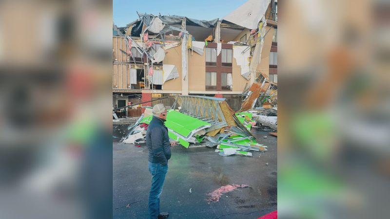 The hotel Steve and Sue Gambla were staying in was partially destroyed in the Fultondale...