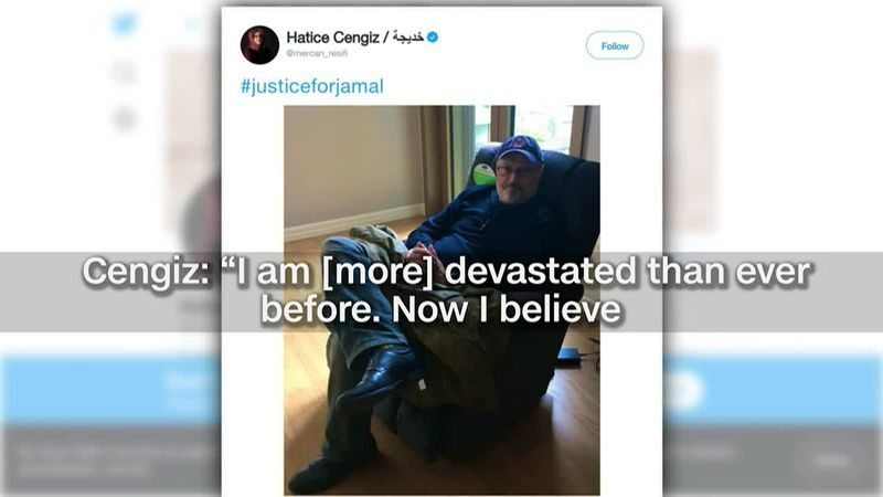 Hatice Cengiz, the fiancee of slain journalist Jamal Khashoggi, speaks following the U.S....