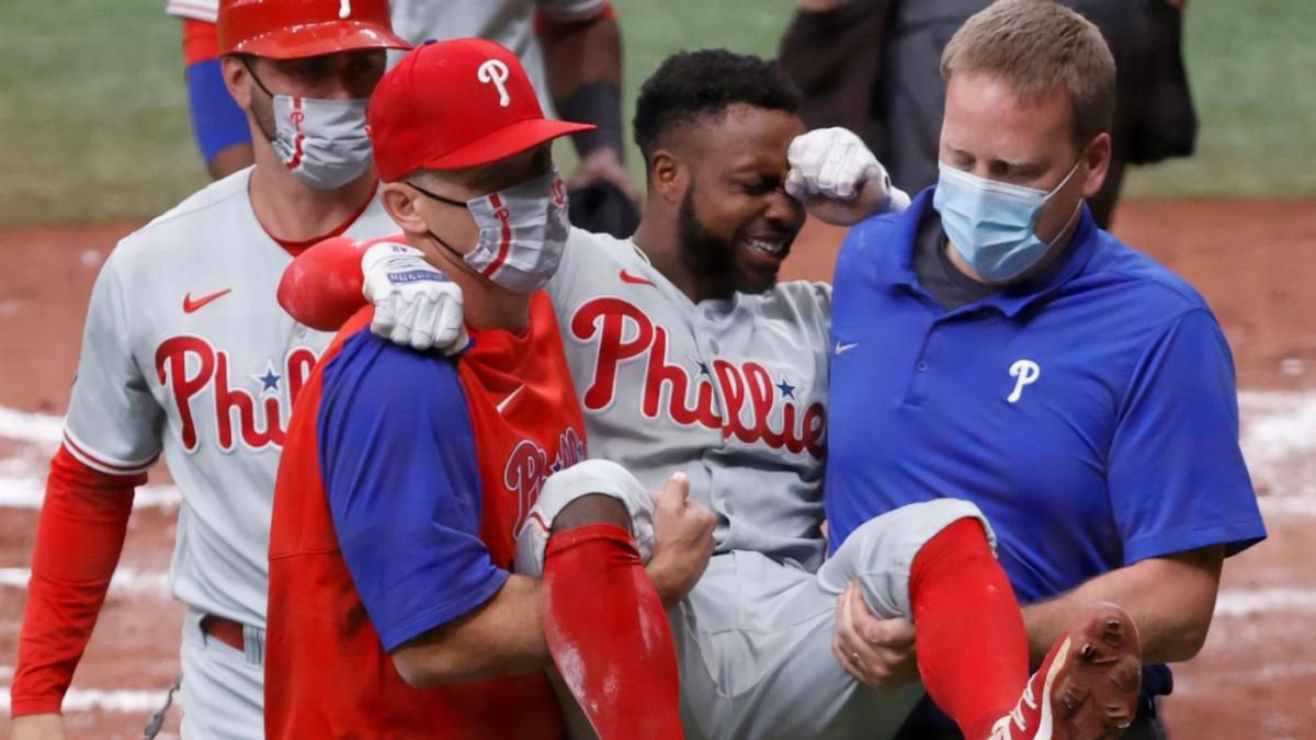 The big-leaguer was rounding third base trying to score in the fifth inning when he ruptured...