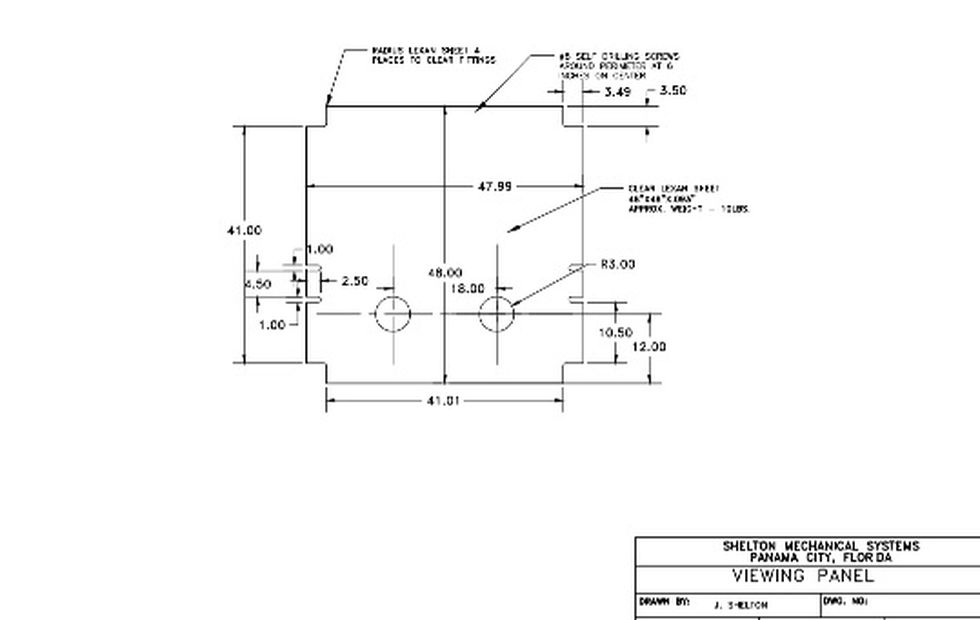 This is the viewing panel blueprints for anyone interested in building the Lexan Frame.