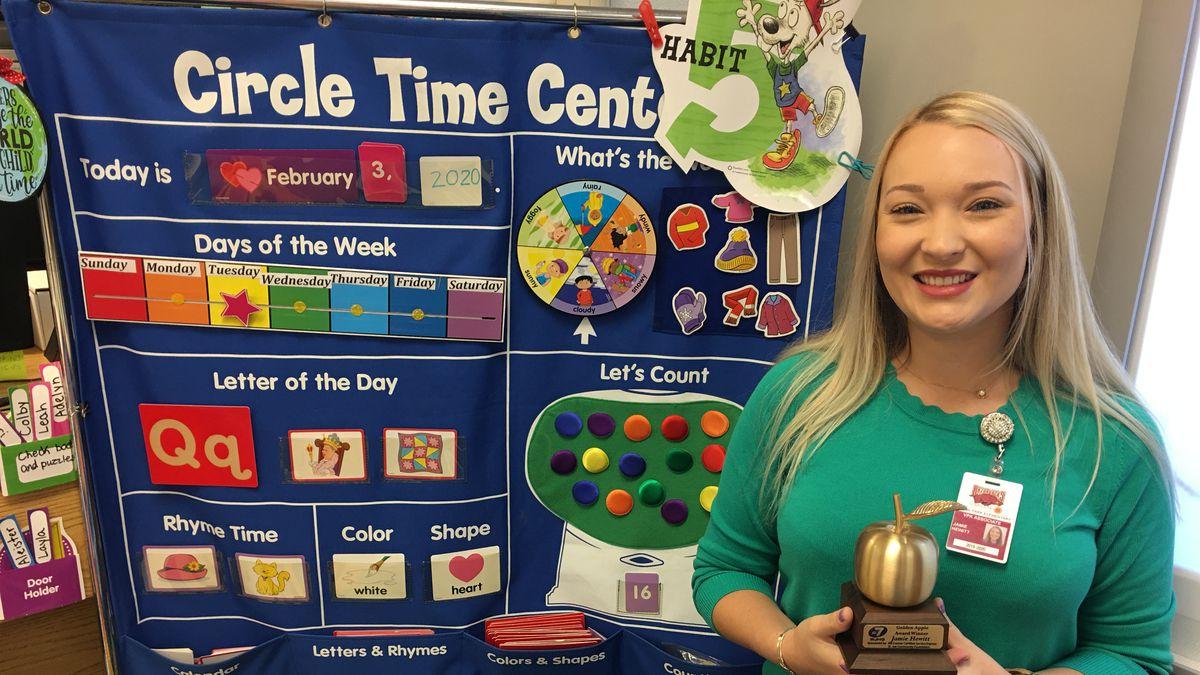 Jamie Hewitt from Hilland Park Elementary School wins the Golden Apple. <br />(WJHG)