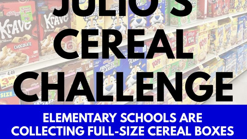 All local children are asked to donate boxes of cereal at their school that will feed families...