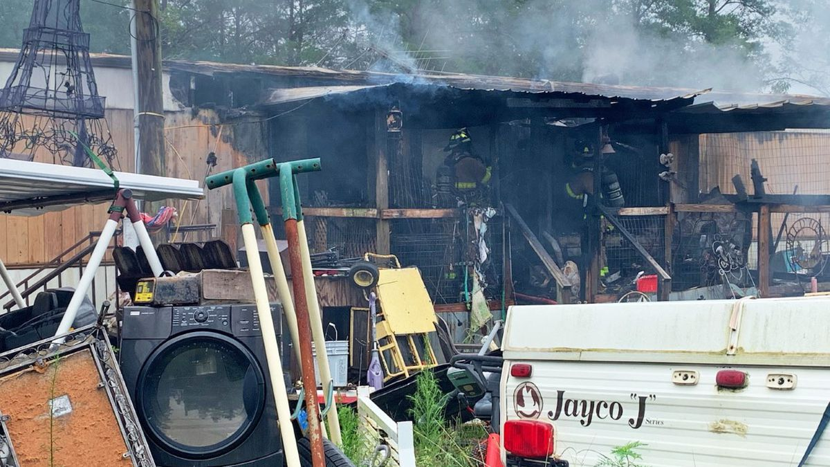 Two dogs were found dead inside a mobile home in Mossy Head after it caught fire Wednesday afternoon.