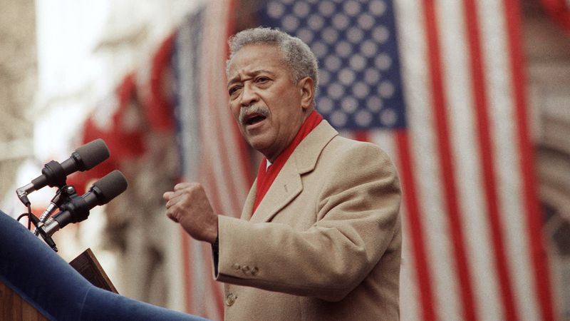 In this Monday, Jan. 2, 1990, file photo, David Dinkins delivers his first speech as mayor of...