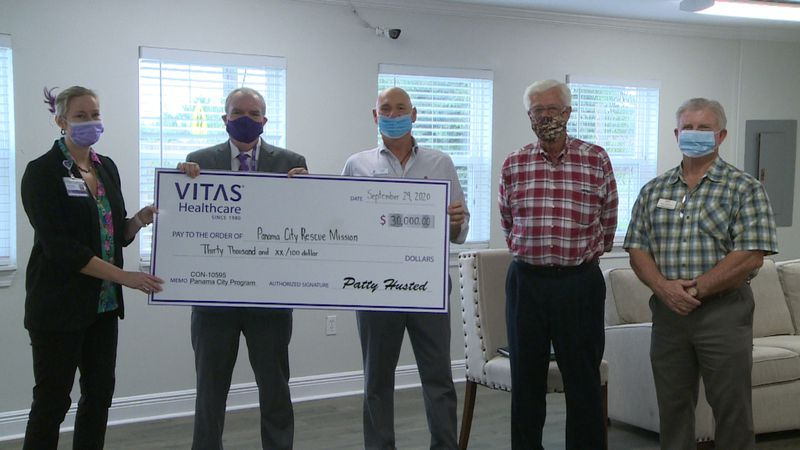 The Panama City Rescue Mission received a $30,000 check Tuesday from VITAS Healthcare.