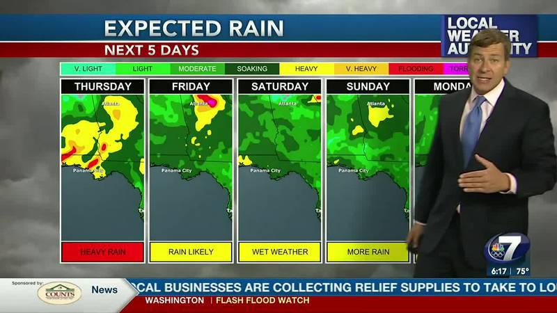Rain chances will remain high through the weekend ahead.