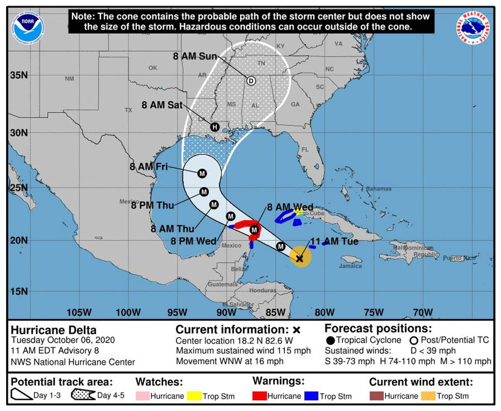 Fed by the water waters of the Caribbean, Hurricane Delta strengthened to a Category 4 major...