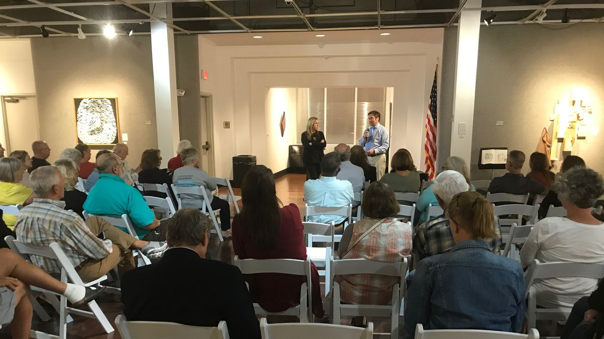 More than a dozen locals spoke with Panama City Commissioner Jenna Haligas and other city officials about hurricane recovery efforts during a town hall meeting Wednesday. (WJHG/WECP)