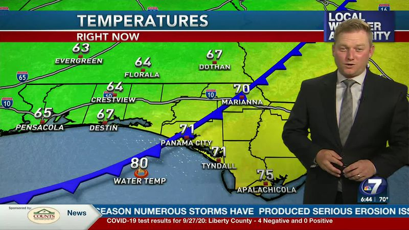 Meteorologist Ryan Michaels showing a cold front moving into the Panhandle today.