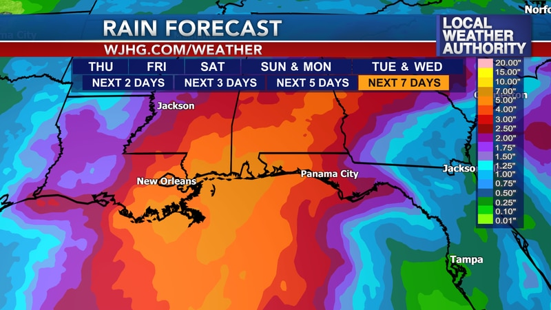 Heavy rain could move into the panhandle this weekend.